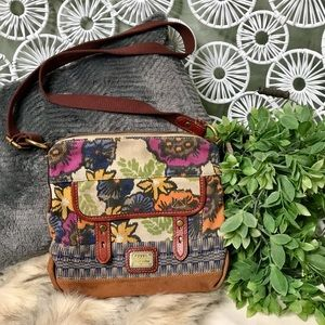 Fossil floral canvas crossbody bag